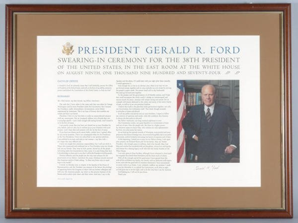 7: Gerald Ford Autographed Broadside Oath of Office
