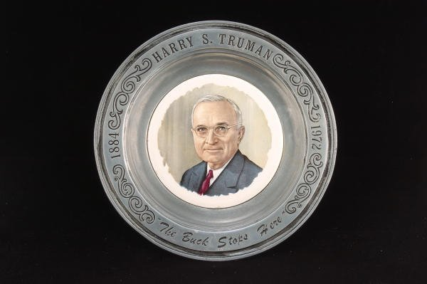 15: Harry S. Truman The Buck Stops Here Pewter Plate
