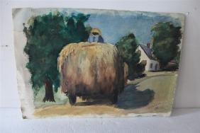 Black Figure on Hay Wagon and Seascape