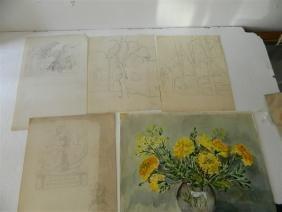 Lot 4 Pencil Sketches One Watercolor (5 pcs)