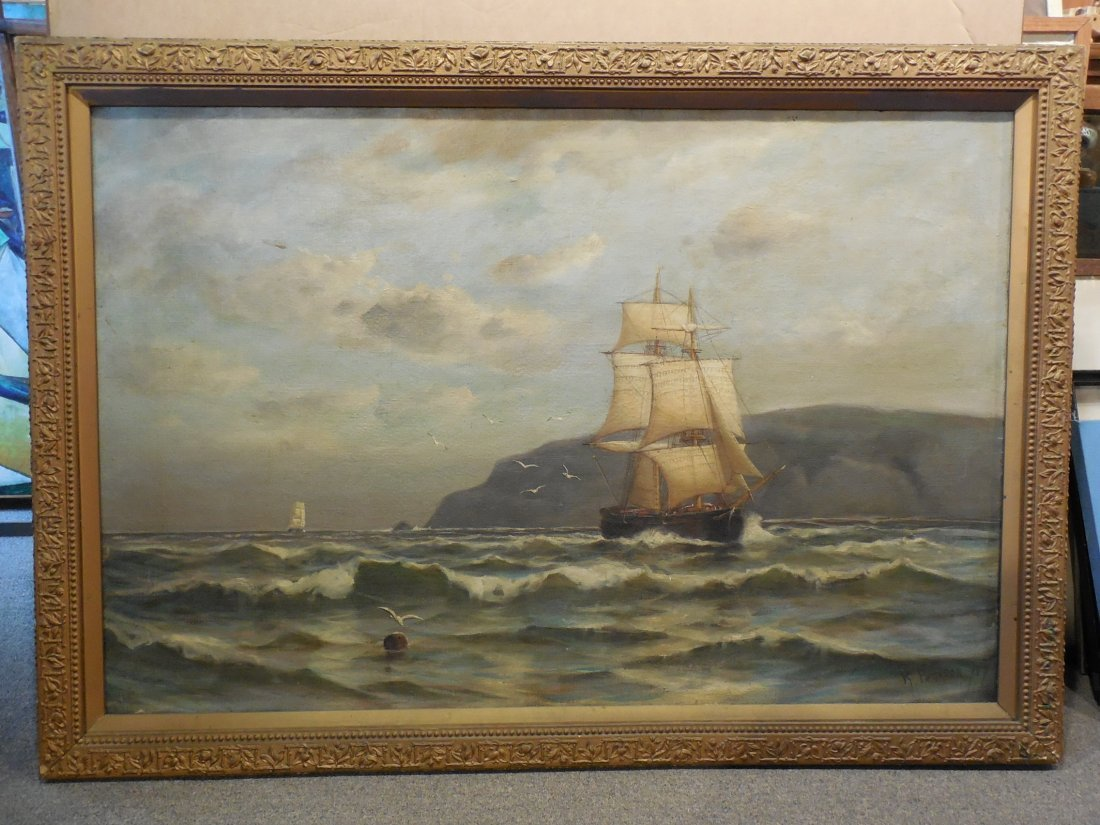 Marine Scene with Sailboats by Robert Pearson