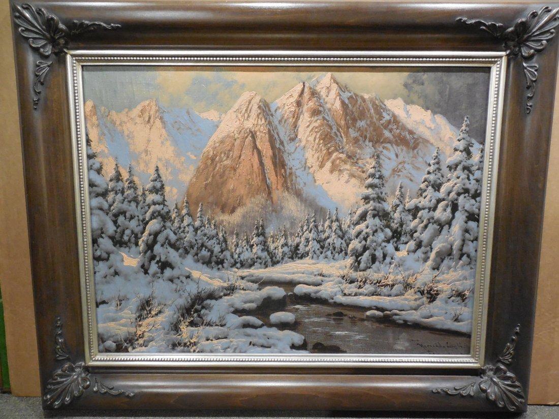 European Alpine Scene with Shell-Cornered Frame