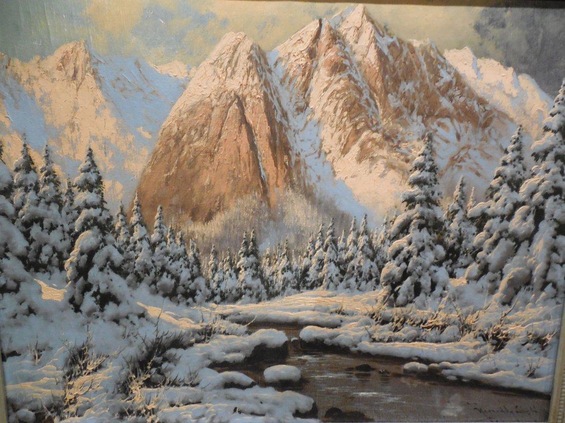 European Alpine Scene with Shell-Cornered Frame - 2