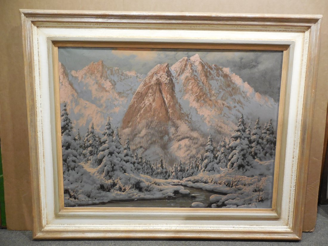 European Alpine Scene with Snowy Trees in Light Frame