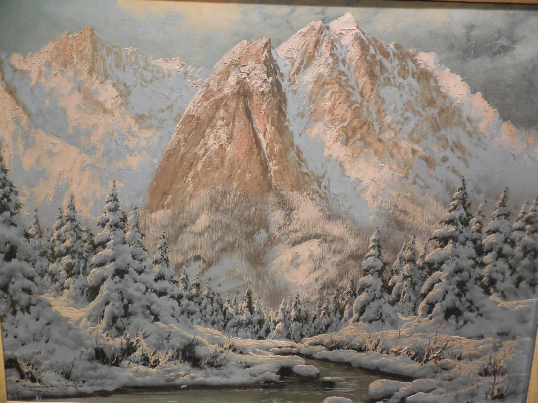 European Alpine Scene with Snowy Trees in Light Frame - 2