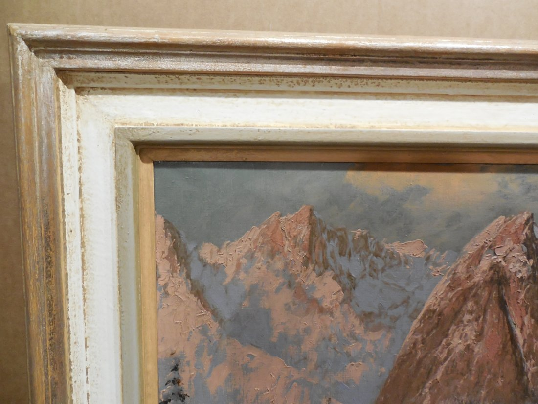 European Alpine Scene with Snowy Trees in Light Frame - 4