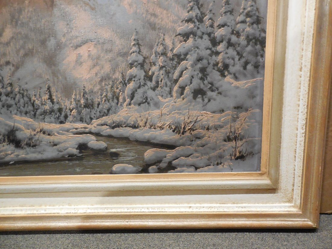 European Alpine Scene with Snowy Trees in Light Frame - 6