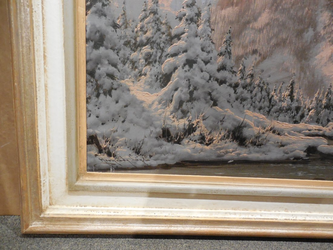 European Alpine Scene with Snowy Trees in Light Frame - 7