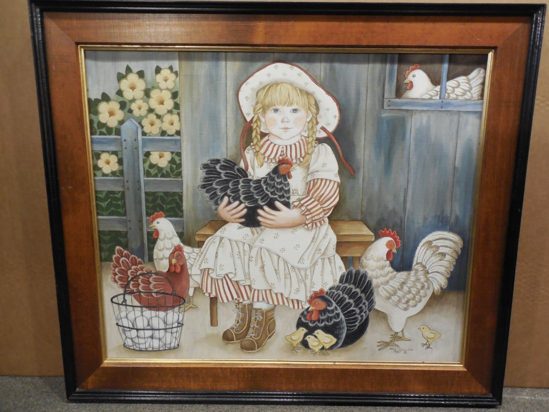 Farm Girl with Her Chickens