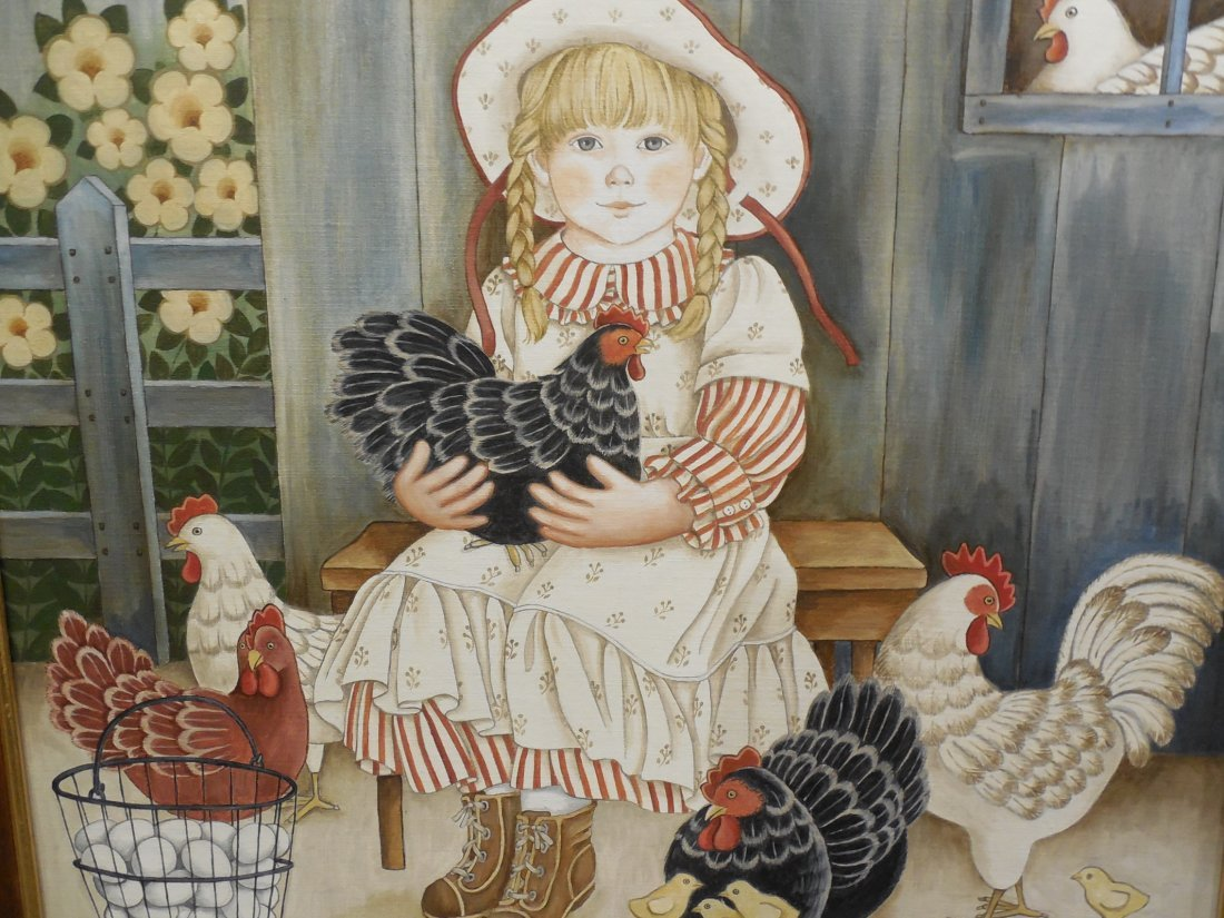 Farm Girl with Her Chickens - 2