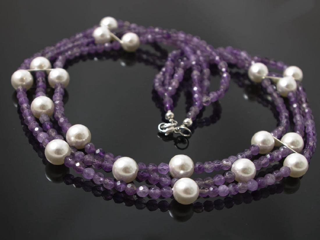Multi-strand amethyst and shell pearls necklace