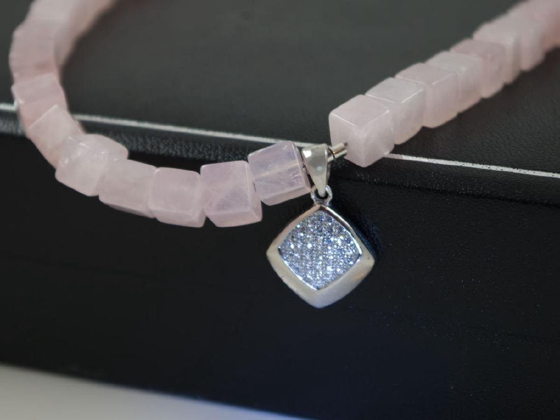 Rose quartz necklace with micropave pendant