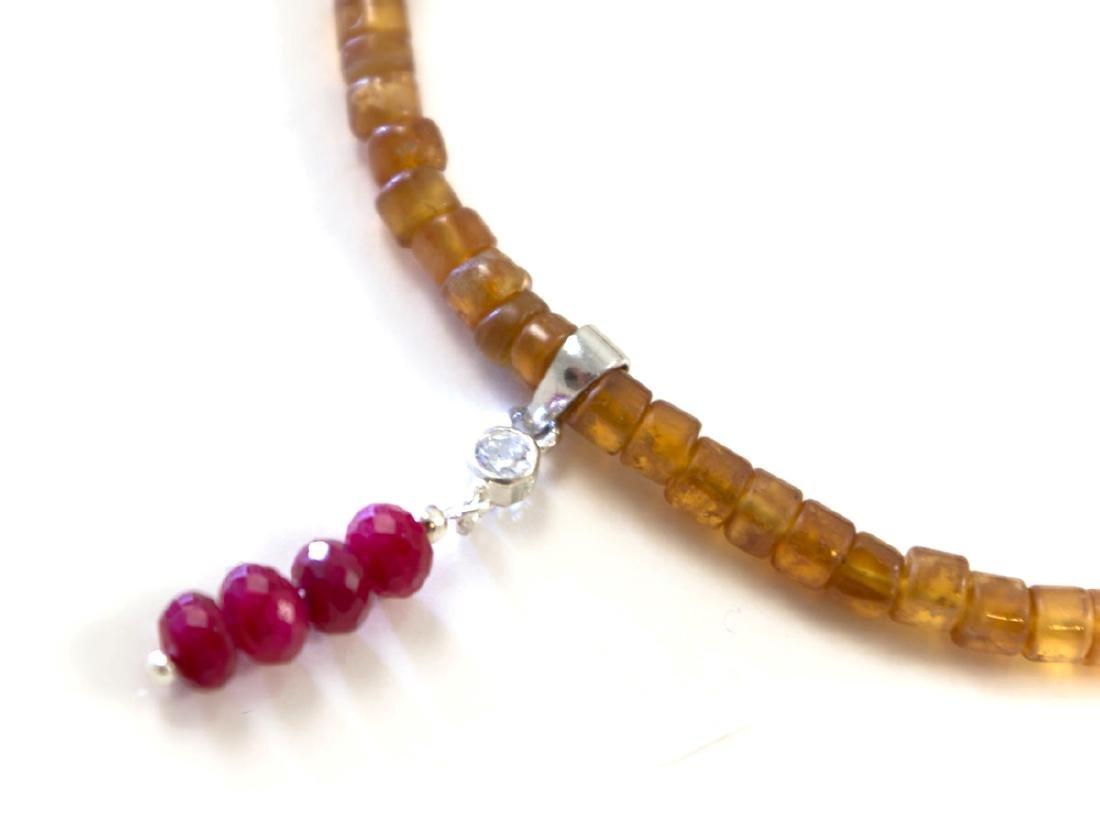 Mandarin garnet necklace with genuine Rubies