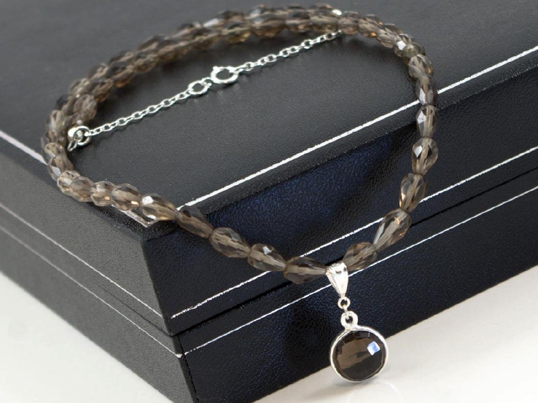 Delicate smoky quartz necklace with pendant