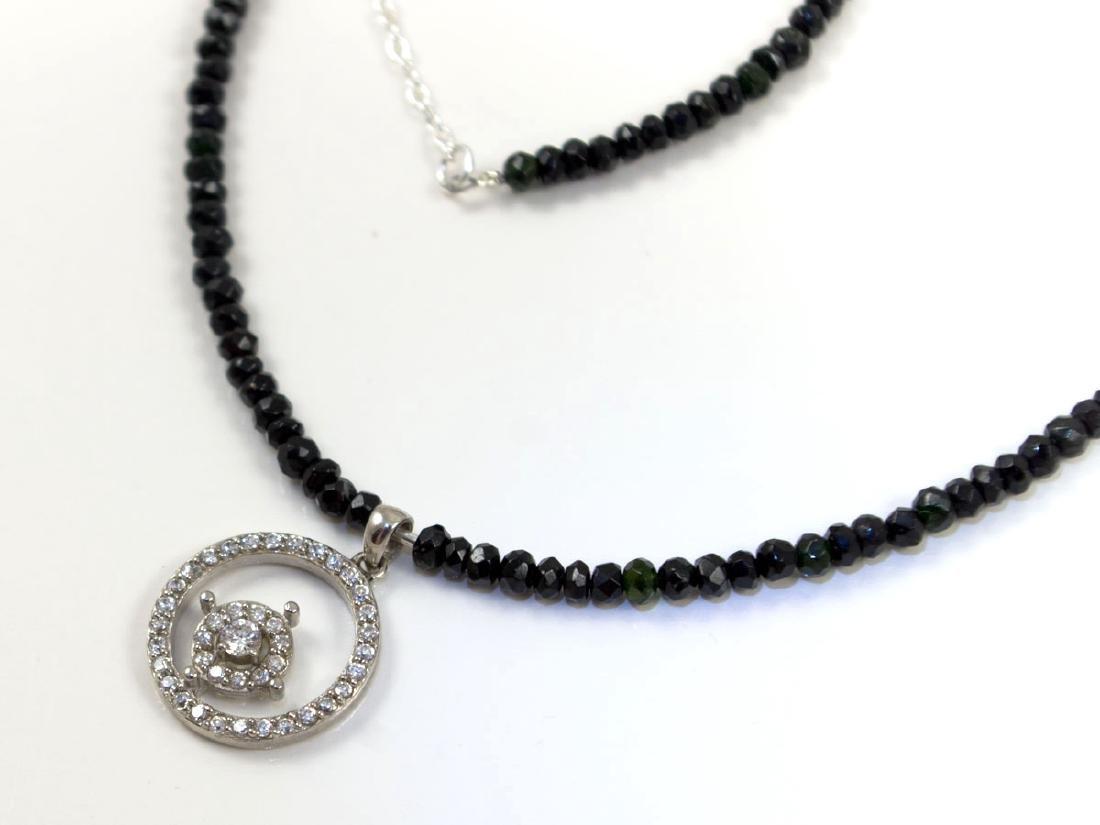 Tourmaline necklace with brilliant white zirconia