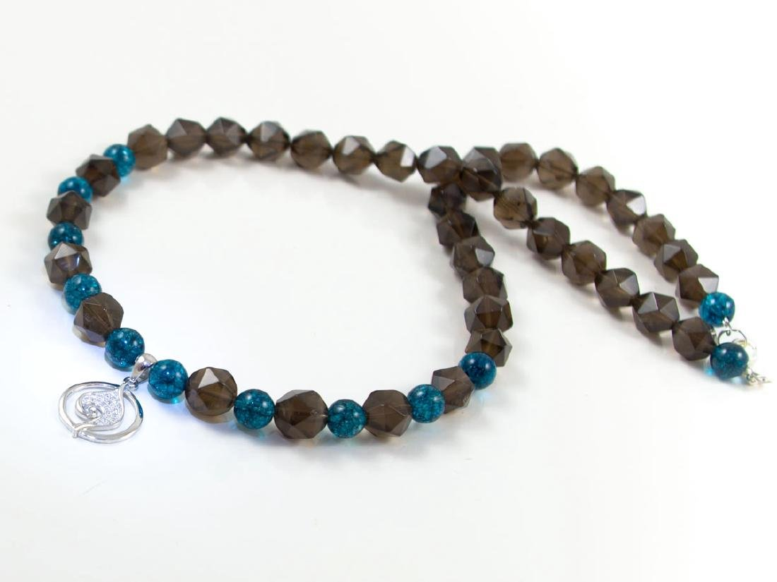 Smoky and Kyanite quartz necklace with micropave