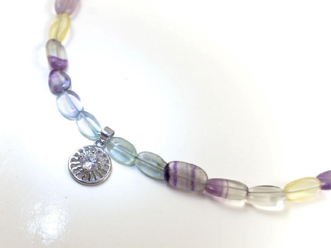 Fluorite necklace with brilliant-cut zirconia