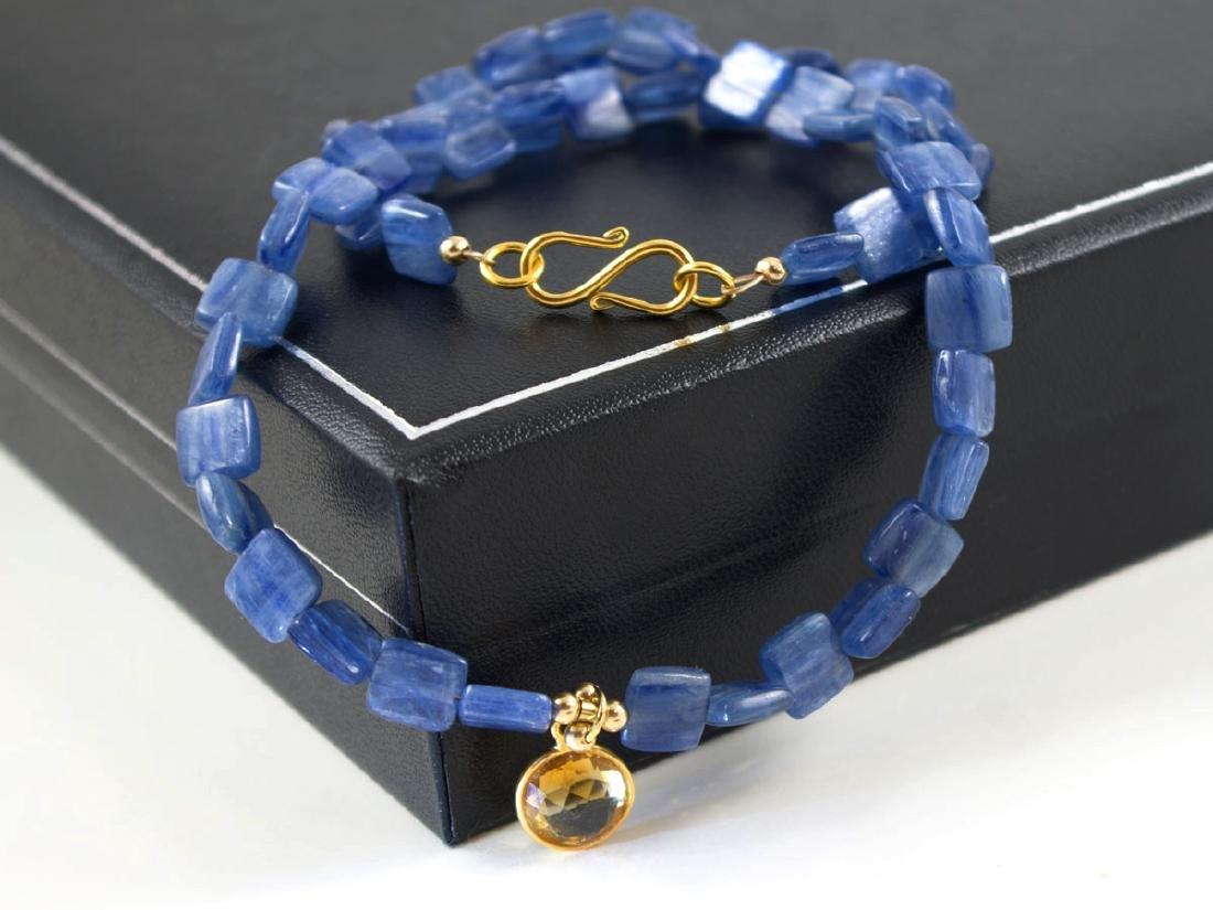 Genuine Kyanite necklace with Citrine pendant