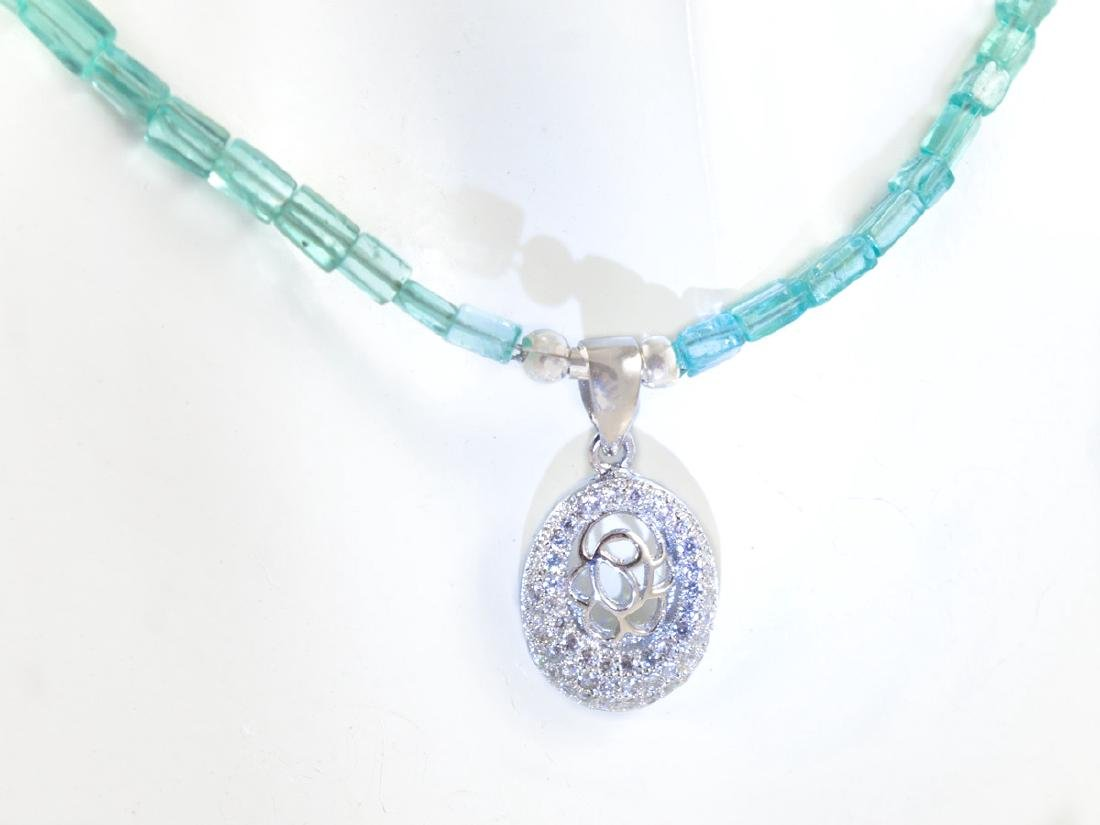 Ocean Blue Apatite necklace with micropave