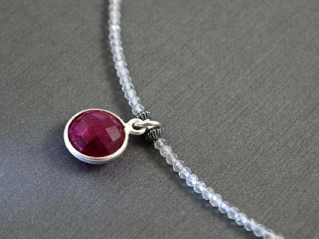 Genuine Topaz necklace & Ruby pendant 2.4 carat