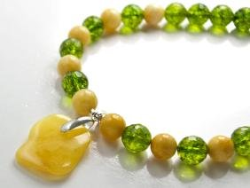 Green quartz and Baltic Amber necklace