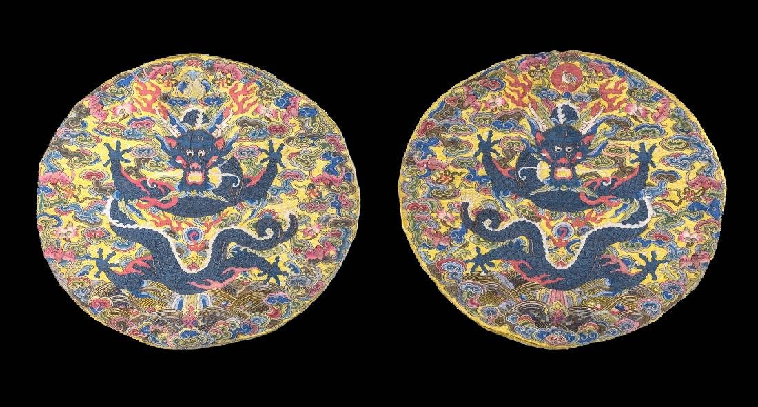 A PAIR OF IMPERIAL KESI YWLLOW-GROUND DRAGON ROUNDELS