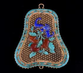A GEM INLAID ENAMELLED GOLD PENDANT , Qing Dynasty