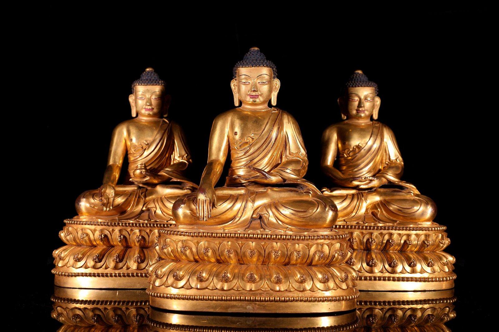 THREE OF GILT-BRONZE FIGURE OF BUDDHAS.MING PERIOD