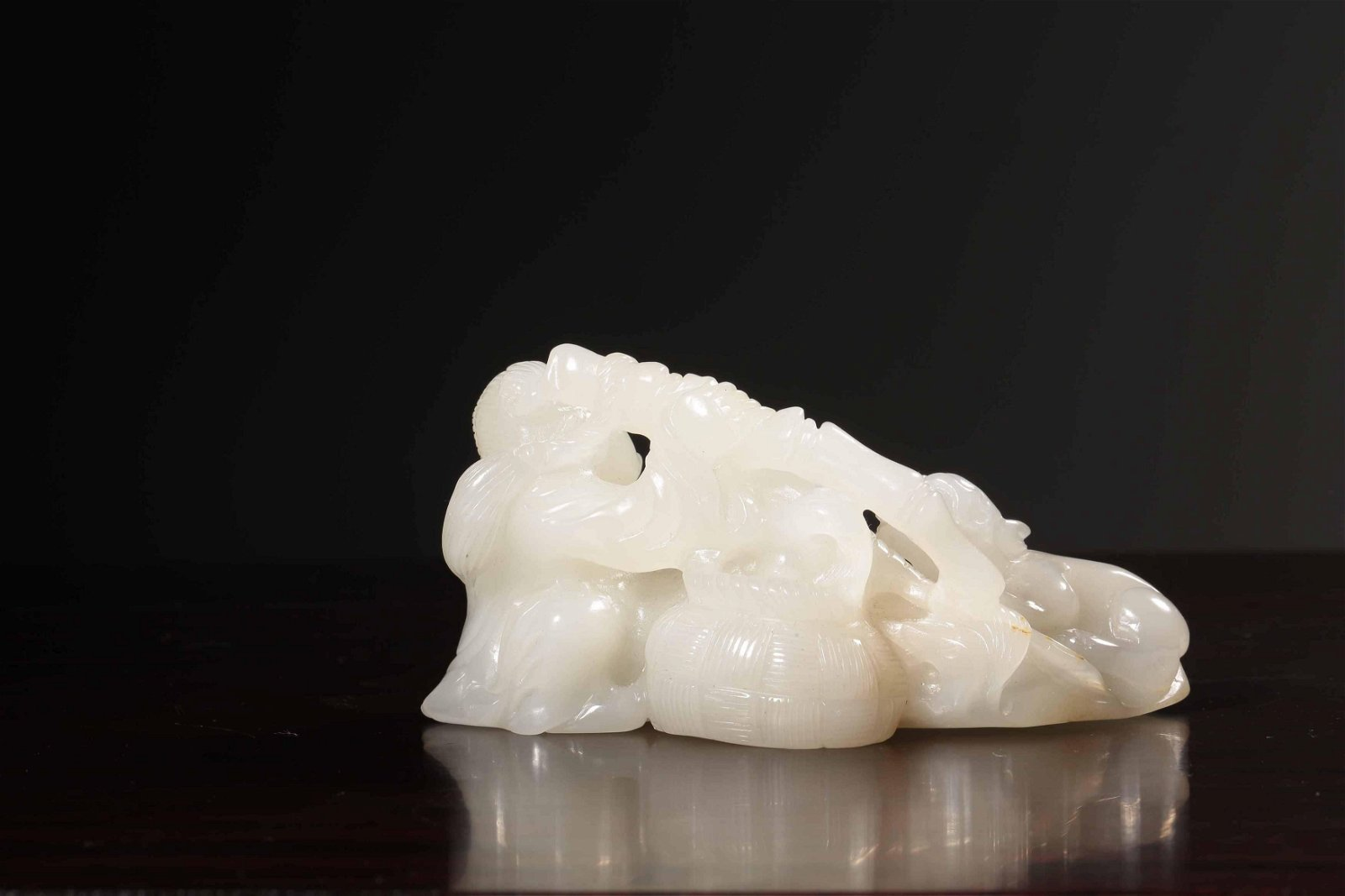 A CARVED WHITE JADE BOY GROUP.REPUBLIC PERIOD
