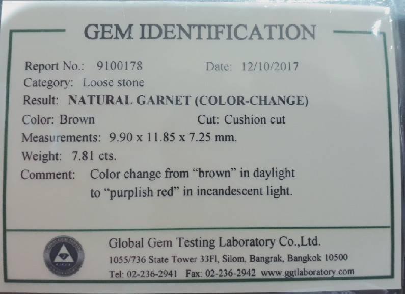 Natural Garnet Brown -Color Change (7.81 ct ) - 4