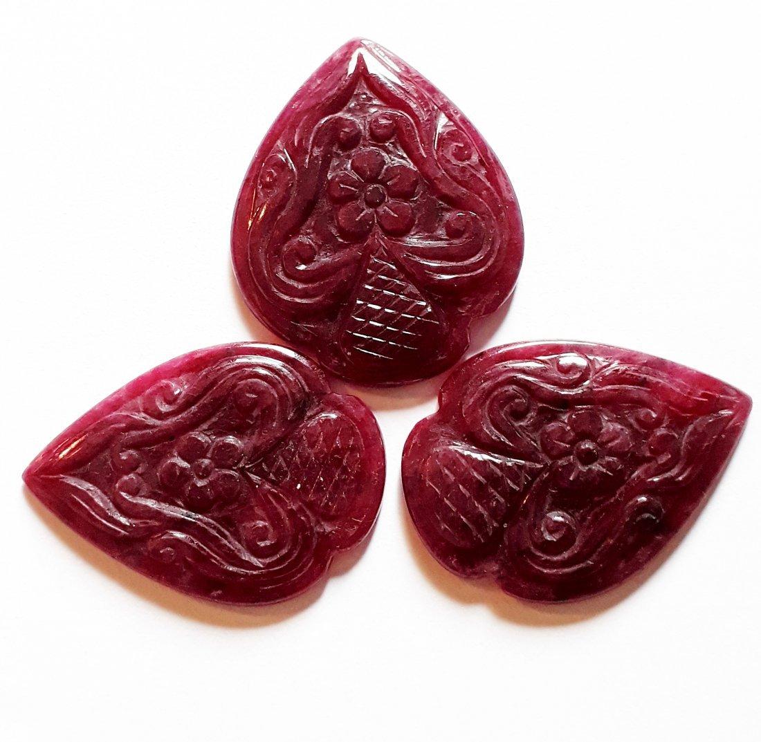 Natural Ruby Carving -Fancy Cut Shape (3 Pcs)- 75.09 ct