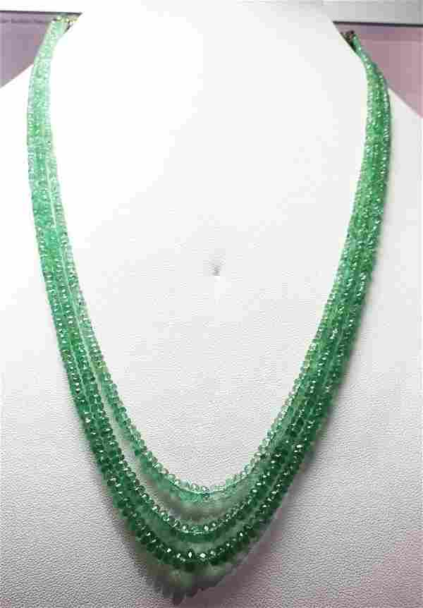 Natural Emerald Facet Beads Necklace - 99.53 ct.