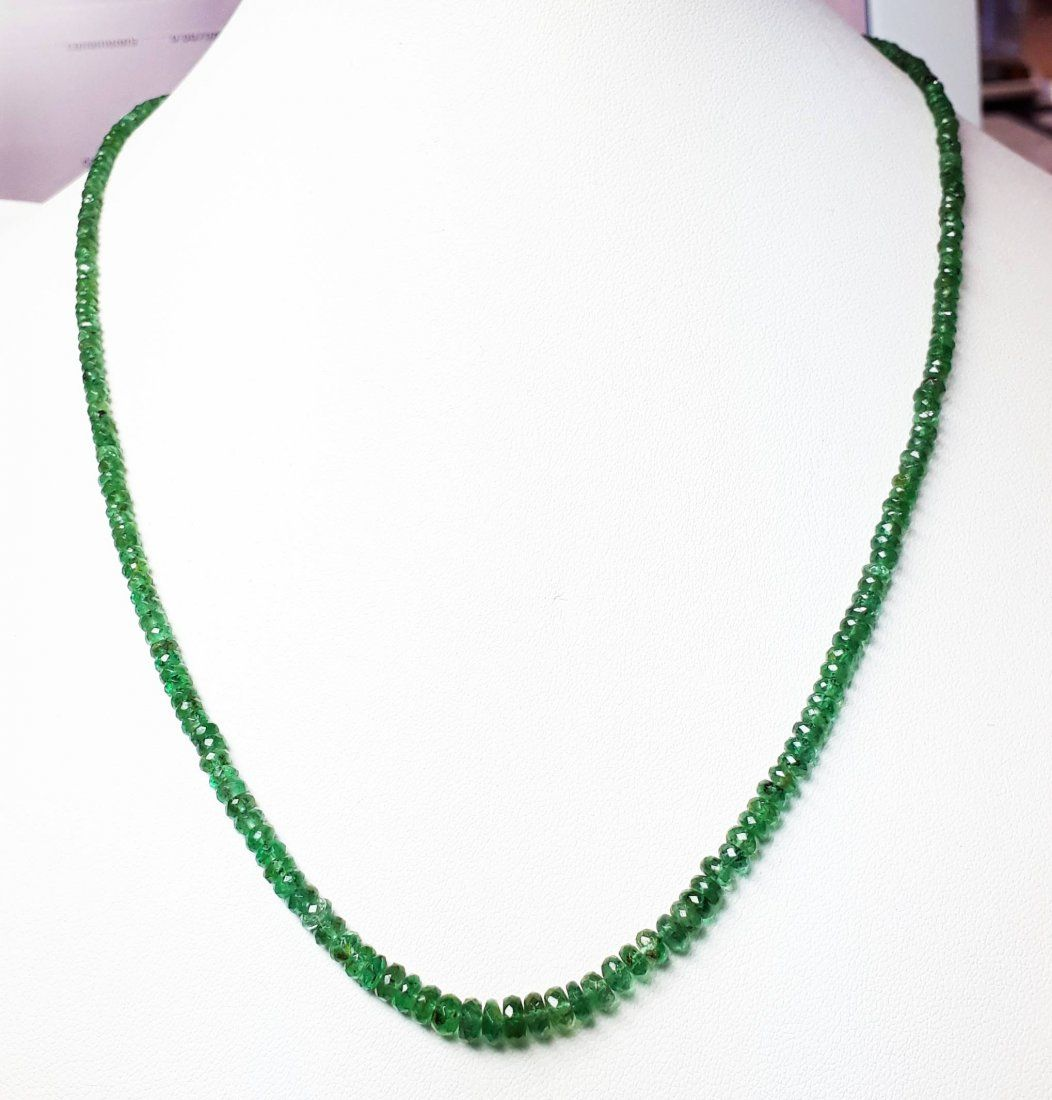 Natural Green Emerald Beads Necklace - 55 ct.