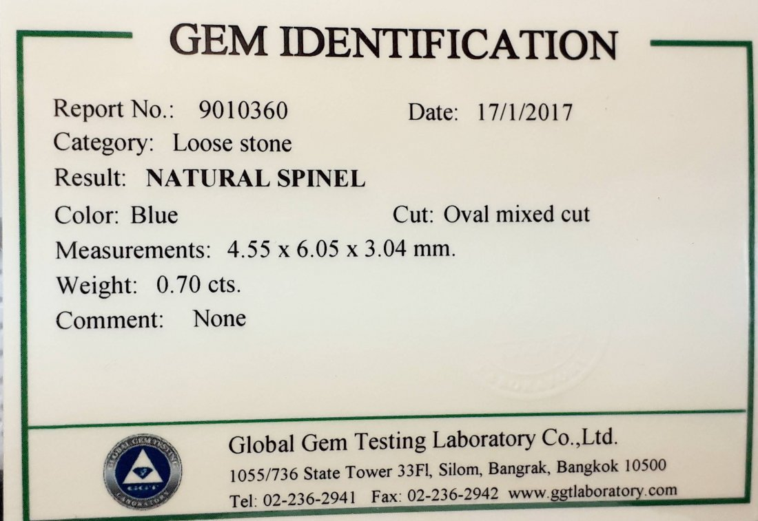 Natural Spinel with GGT Certificate - 0.70 ct. - 5