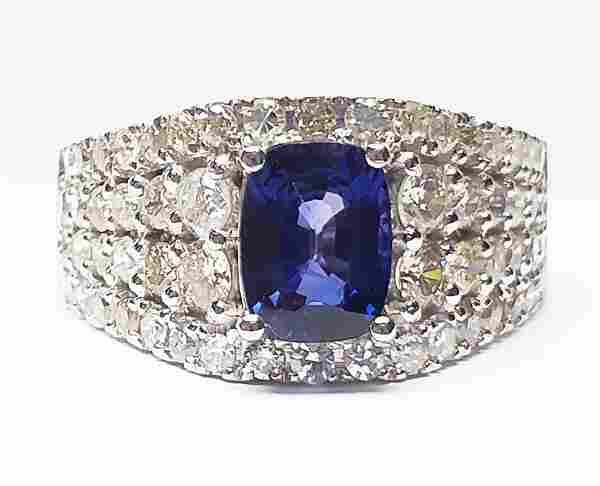 14 K White Gold, Sapphire And Diamond Ring
