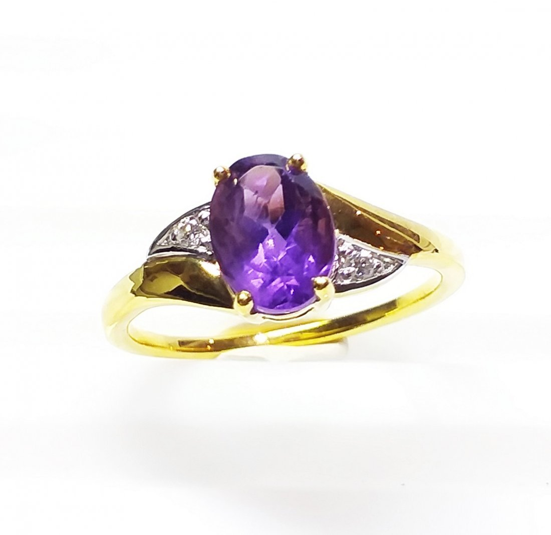 9 K Yellow Gold, Amethyst & Diamond  Ring