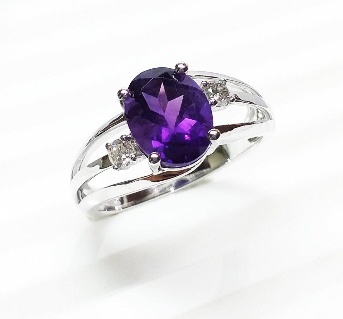 14 K White Gold, Amethyst & Diamond  Ring