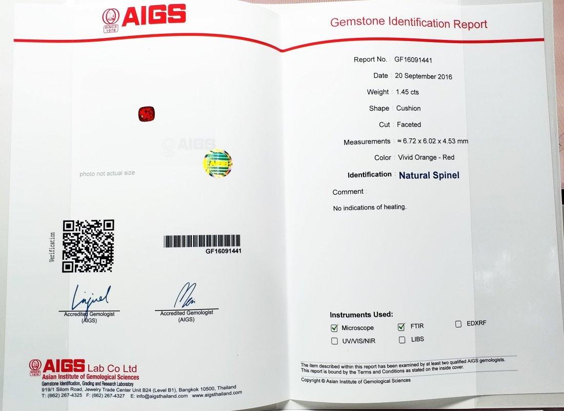 AIGS Certified Natural Spinel Vivid Orange 1.45 ct. - 5