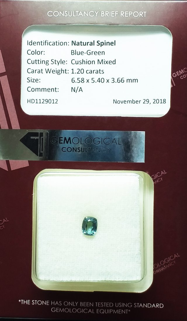 GCI Certified Spinel - 1.2 ct. - Cushion - Blue - 6