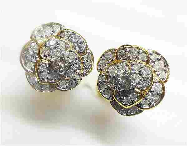 14 K Yellow Gold & Diamond Floral Earrings