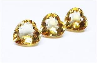 Natural Yellow Citrine 3 Pieces 944 ct