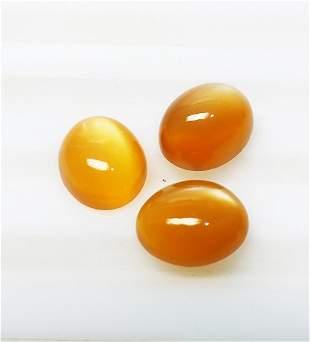 Moonstone 775 ct Cabochon Orange 3 Pieces