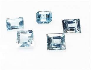 Topaz 480 ct Cushion Blue 5 Pieces