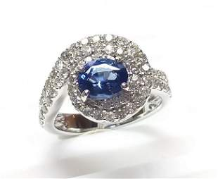 14 K White Gold Blue Sapphire And Diamond Ring