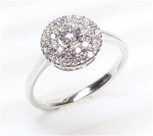 14 K White Gold And Diamond Ring