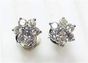 14 K White Gold Diamond Earrings