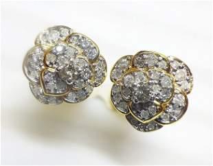 14 K Yellow Gold Diamond Floral Earrings