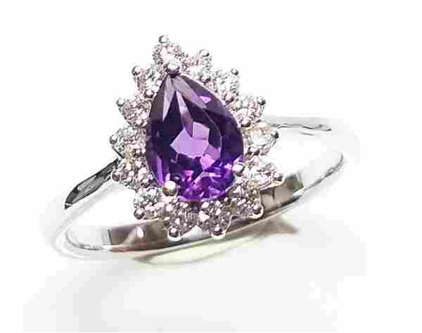 14 K White Gold, Amethyst And Diamond Ring
