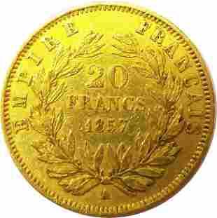 FRANCE 1857A 20 FRANCS 645 Grams