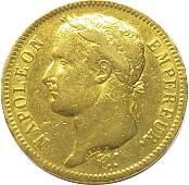 FRANCE 1811A Napoleon 40 Francs Gold Coin - 12.9 Grams